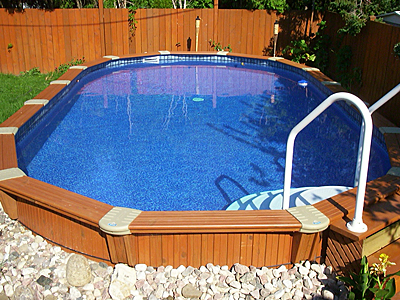 Semi inground pools oval gallery jmd pools quality for Common inground pool sizes