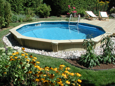 Semi inground pools round gallery jmd pools quality for Quality pool design